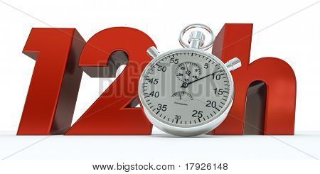 3D rendering of 12 H in red letters with a stopwatch