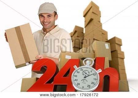 A messenger delivering a parcel with 24 hrs and a chronometer