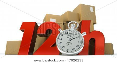 3D rendering of  a pile of boxes with the words 12 Hrs and a chronometer