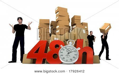 3D rendering of piles of cardboard boxes and three workers with the words 48 Hrs and a Chronometer