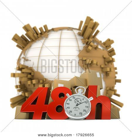 3D rendering of the Earth full of packages a pile of boxes and the words 48 Hrs and a chronometer