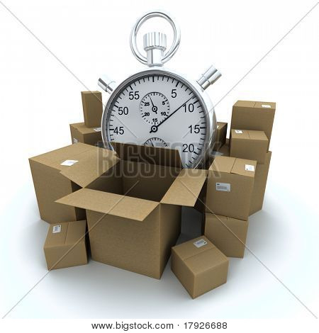 3D rendering of cardboard boxes and a chronometer