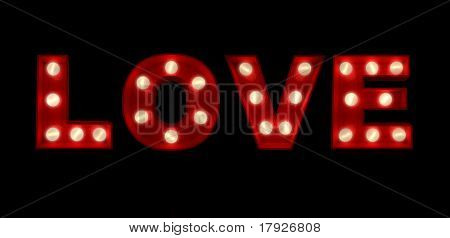 3D rendering of the sign LOVE written in glowing letters