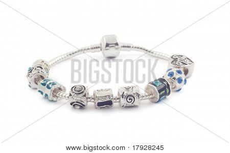 Silver Bracelet With Beads On White