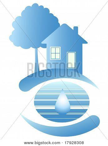 Casa azul y una gota de agua