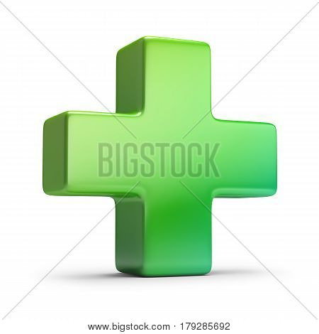 Green cross. 3d image. Isolated white background.