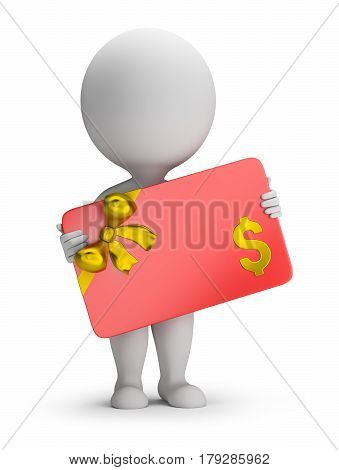 3d small person holding a gift card. 3d image. White background.