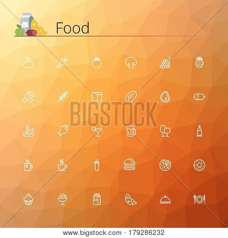 Food line icons set. Pixel perfect icons. Vector illustration. Geometric background.