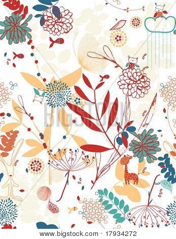 Vector retro whimsical floral seamless pattern with children's graphics