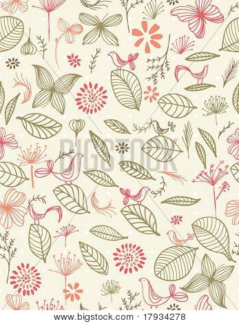 Vector Retro Botanical Garden (seamless pattern)