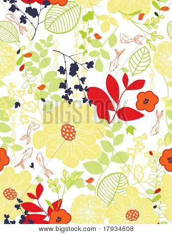 Vector Floral and fishes Pattern (seamless)