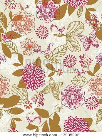 Vector Pink Floral (Seamless Pattern)