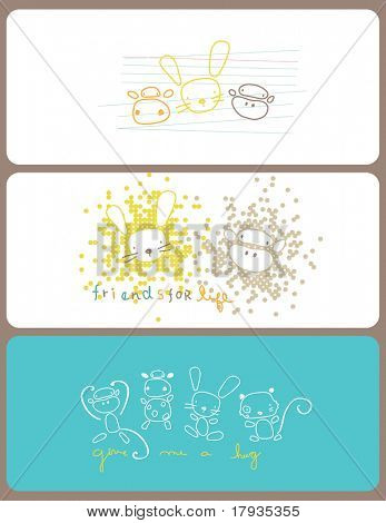 Vector graphic set displaying cute little baby animals
