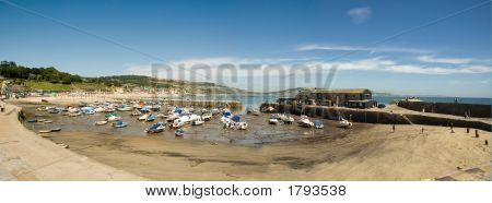 Lyme Regis Harbor At Low Tide Copy