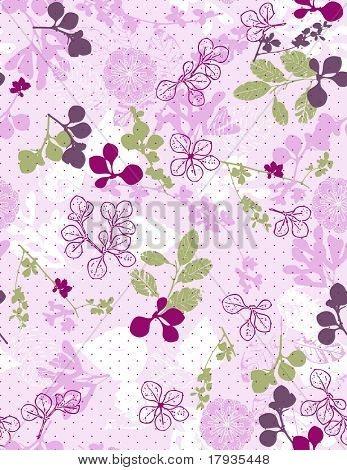 Delicate nautical garden displaying leaves and polka dots.