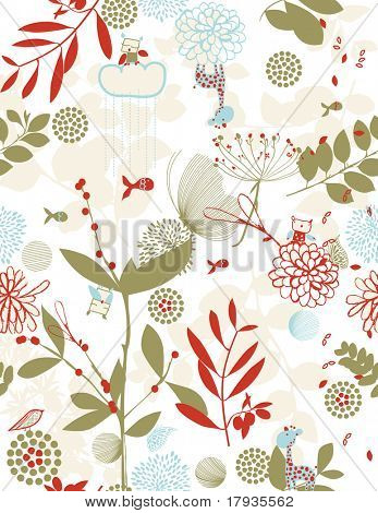 Vector seamless pattern displaying children's graphics in a retro style.