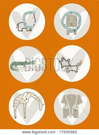 Vector graphic set displaying cute baby animals.