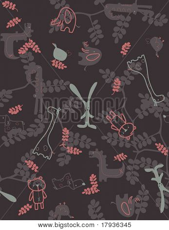 Vector seamless pattern displaying baby animals and a forest background.
