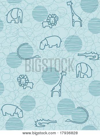 Vector seamless pattern showcasing cute little baby safari animals