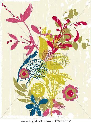 Vector Grunge Floral Garden