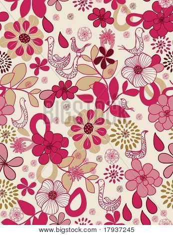Vector Retro Floral Pattern with birds (Seamless)