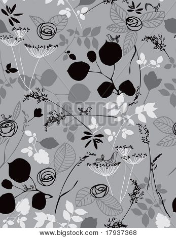 Vector seamless pattern displaying cute baby birds in a garden.