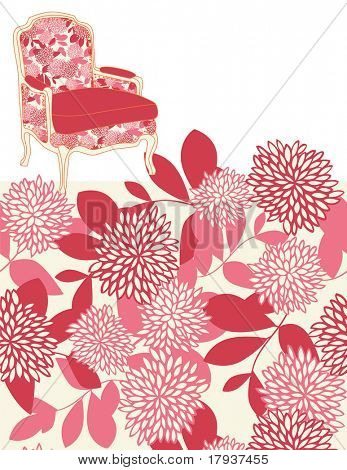 Vector Furniture and Floral Pattern (seamless)