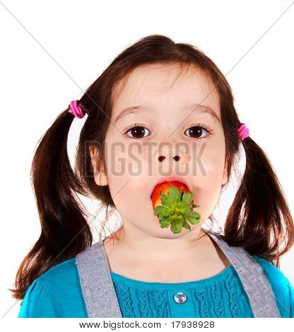 Little Girl With Strawberry In Mouth