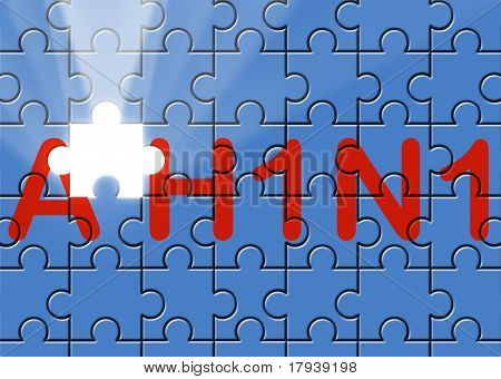 puzzle with missing piece swine AH1N1 text flu metaphor