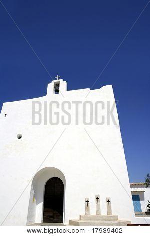 Balearic islands white church in Formentera near Ibiza