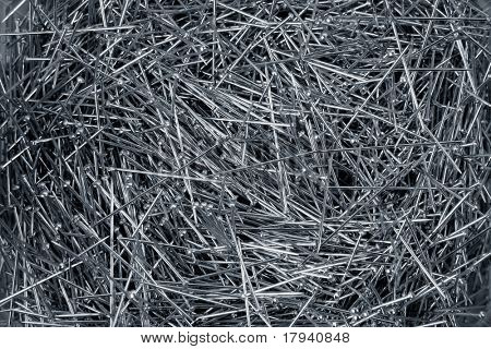 Background of steel many dressmaker pins crop image