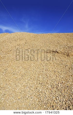 yellow gravel sand quarry mountain for construction concrete