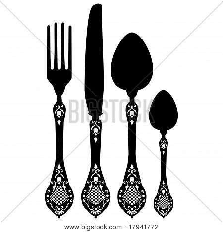 Retro vector silhouette of knife, fork, spoon and spork