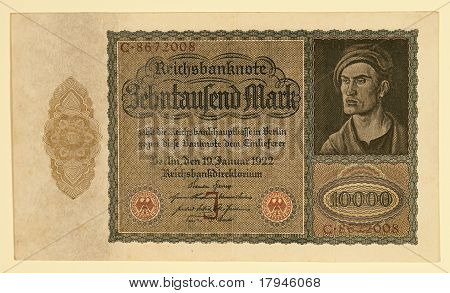 Antique 1922 German Y 10000 Deutsche Mark