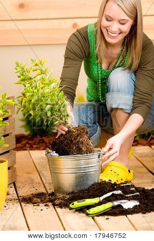 Gardening Woman Planting Potted Green Spring