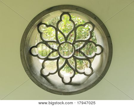 circular Chinese courtyard window