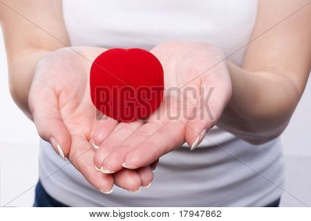 Red velvet box in a female hands
