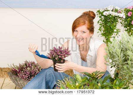 Summer Garden Terrace Redhead Woman Potted Flower
