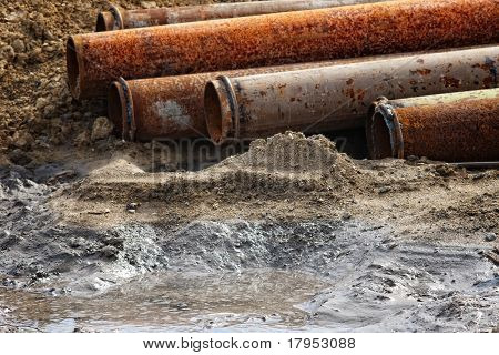 abandoned rusty pipes