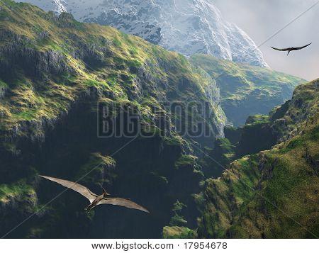 Pteranodon voando através do canyon