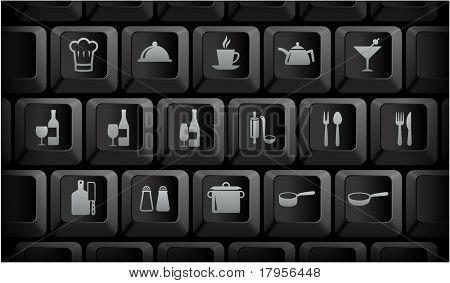 Restaurant Icons on Black Computer Keyboard Buttons Original Illustration