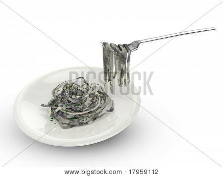 Eating money pasta