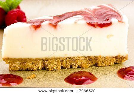 Raspberry Cheesecake With Raspberries Mint.