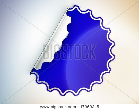 Blue Round Jagged Sticker Or Label