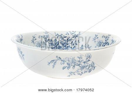 Antique hand painted washbowl isolated on white background