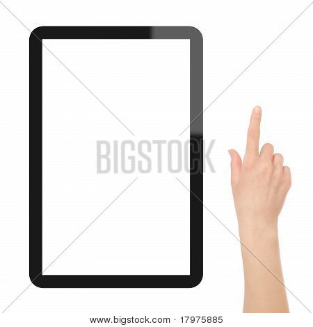 Touch-Screen-Tablet-PC mit Hand