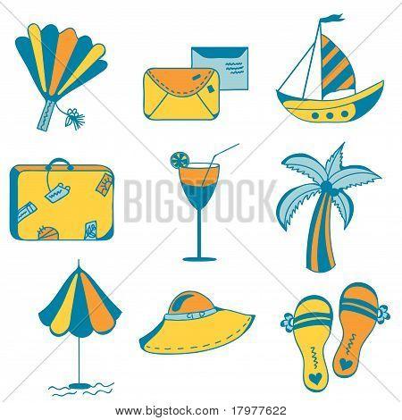 Iconos de mar para vacaciones