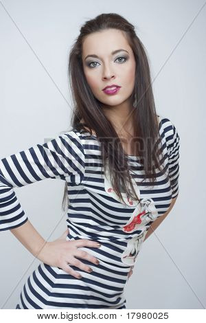 Beautiful Fashion Girl In Stripes Clothes
