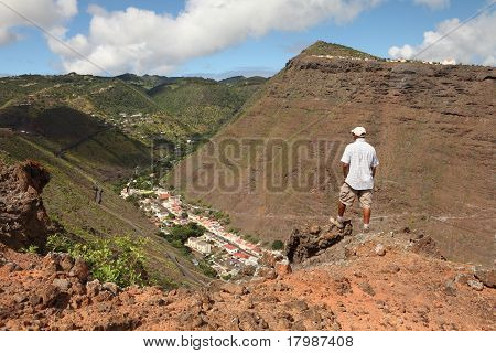 Hiker on trail on St Helena Island