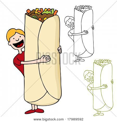 An image of a man about to eat a giant burrito.